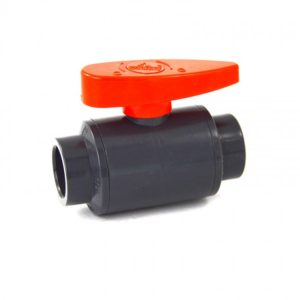 PVC ball valve with red handle
