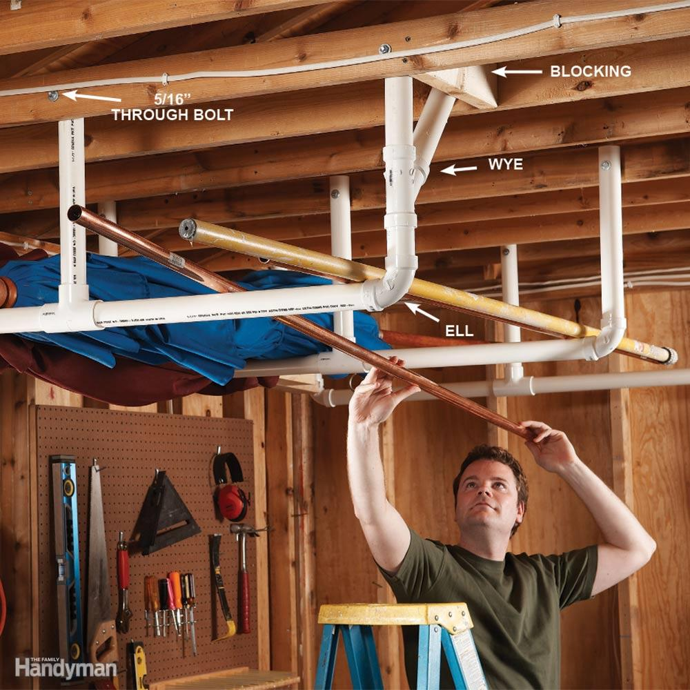 Shop Storage: The Best Way To Create Overhead Garage Storage With PVC